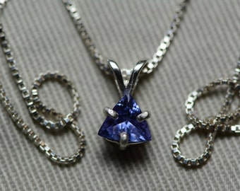 Tanzanite Necklace, Certified Tanzanite Pendant 0.43 Carats Appraised At 236.50 On Sterling Silver Necklace, Trillion Cut Tanzanite