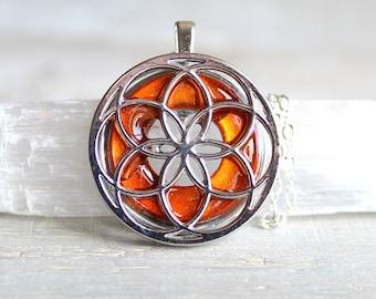 orange seed of life necklace, sacred geometry, spiritual jewelry, meditation jewelry, chakra necklace, yoga jewelry, unique gift