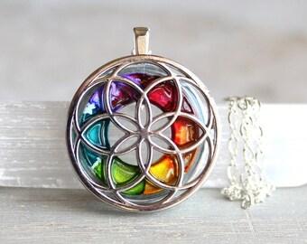 rainbow seed of life necklace, sacred geometry, spiritual jewelry, meditation jewelry, chakra necklace, yoga jewelry, unique gift