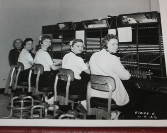 1950's Real Photo Telephone Switchboard Operators in Training NCR National Cash Register Co. Dayton Ohio