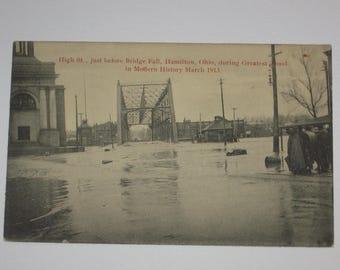 Hamilton Ohio High St before Bridge Fall during Greatest Flood in Modern History March 1913 Postcard