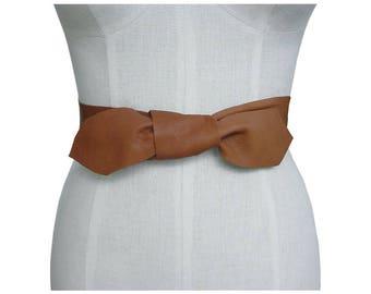 Basic Tie Belt - Leather Sash - Leather Bow Belt - Raw Edge - Minimalist  Leather Belt - Basic Knotted Belt - Lena belt - Minimalist Bow Tan
