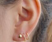 Double Piercing Hoop Earrings, Sterling Silver, Gold Plated, Spiral Earrings, Threader Hoops, Minimal Lunaijewelry, Valentines Gift, EAR149