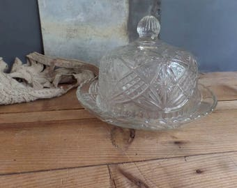 vintage French glass cloche dome with tray