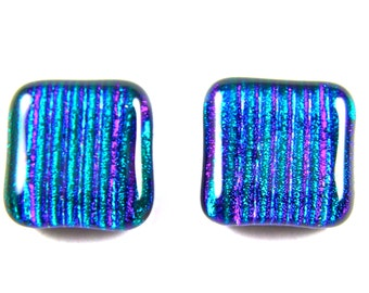 """Dichroic Earrings - Emerald Green Square Blue Purple Striped Reed Textured Accents Highlights - Post or Clip-On - 3/4"""" 2cm"""