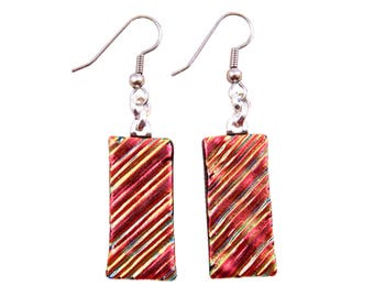 Dichroic Dangle Earrings - Copper Red Orange Ripples Fused Glass - Surgical Steel French Wire or Clip-on