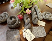 "Wing & A Prayer Farm ""Neptune"" Cotswold Wool/Mohair Aran-weight Grey and Marled Farm Yarn"