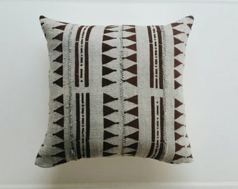 Grey and Brown Mudcloth Pillow Cover - Gray Boho Throw Pillow - Bohemian Pillows