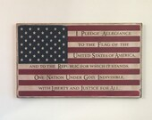 Pledge of Allegiance Flag Wood Sign, Rustic United States Flag, Fourth of July, Home Decor Wooden Sign, American Flag Wood Sign