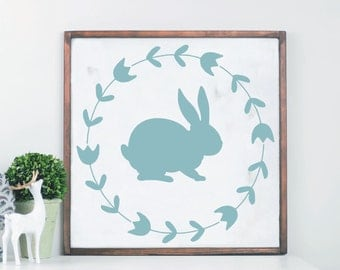 Easter Wood Sign, Spring Wreath, Bunny Sign, Spring Home Decor, Wooden Sign for Easter, Easter Decor, Farmhouse Sign, Easter Wall, Rustic