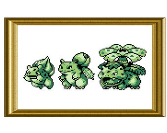 Custom Order Any Pokemon Evolution Cross Stitch Pattern Gameboy