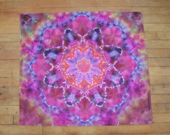 Ice Dyed Mandala Flower Tapestry Tie Dye 31.5 x 28 inches || READY TO SHIP