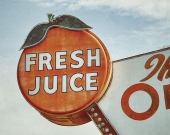 Kitchen Sign, Fresh Juice Sign,  Orange Shop, Orange Juice Kitchen Decor
