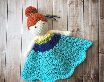 Anna Frozen Fever Inspired Lovey/ Security Blanket/ Stuffed Toy/ Plush Toy Doll/ Soft Toy Doll/ Amigurumi Doll/ Frozen Doll- MADE TO ORDER