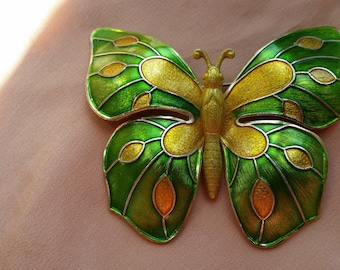BEAUTIFUL Butterfly Pin w/ Green & Yellow Finished Wings West Germany VINTAGE