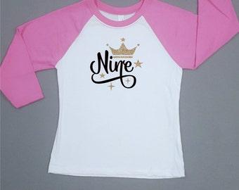 Ninth Birthday Shirt - 9th Birthday - Birthday Girl - Gold Sparkles - Baseball Tee - Girls Birthday Shirt