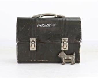Vintage Black Metal Lunch Pail, Vintage Lunch Box, Metal Lunch Pail, Old Lunch Box, Old Metal Lunch Box, Old Lunch Pail, Vintage Lunch Pail