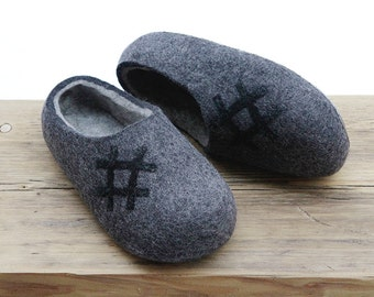 Size EU 42, EU 43 ready to ship! Hand made felted wool slippers. Dark Grey with Light Gray inside.