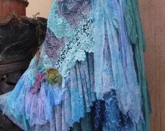20%OFF bohemian wrap skirt, bohemian skirt, shabby skirt, lace skirt, lace, wedding skirt, large skirt, gothic skirt, mori girl skirt,