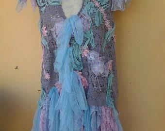 20%OFF bohemian gypsy lagenlook lilac crochet vest ....smaller to 38'' bust....