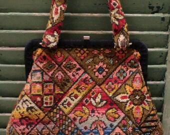 Vintage CARPET BAG Handbag Purse - BOHO - Rich Multi-Colours - Tapestry - Autumn Winter Hand bag Bohemian