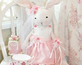 Pink Princess Bella Grace Ballerina Bunny  Shabby Chic Victorian Bunny Rabbit Rose Easter Bridal Doll White French Lace