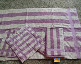 Larger Towel Set Plush Stripe Design, 1 Bath, 2 Hand, 2 Wash, By Arianna