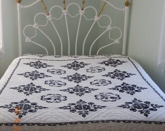 Vintage Quilt Handmade CrossStitch Black on White Background Floral Geometric Hand Quilted Full