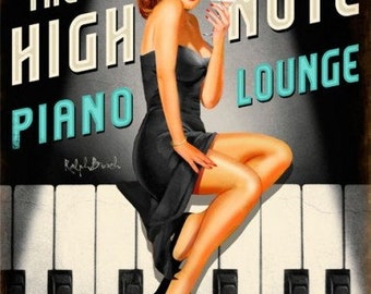 The High Note Piano Lounge, Vintage metal sign, man cave, Bar sign,