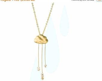 20% off. Rain cloud necklace  English Rain. Gold cloud necklace. Pearl rain necklace.