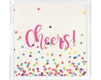 Personalized Bar Tray -  Custom Acrylic Tray - Cheers new Year Tray - New Couple Gift - Lucite Tray - Hostess Gift