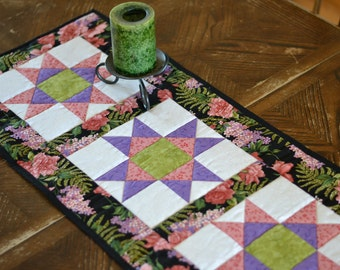 Quilted Star Table Runner, Black Purple Pink Green floral, Quilted Table Decor