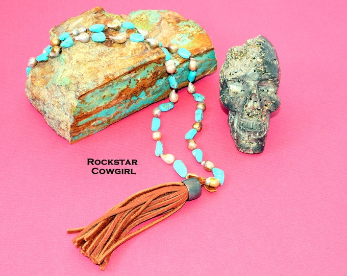 Campitos Turquoise and Pearl Leather Tassel Necklace
