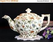 ON SALE Chintz Teapot, Vintage Tea Pot c1950, Transferware,  Moriyama Japan, Shabby Teapot 13780