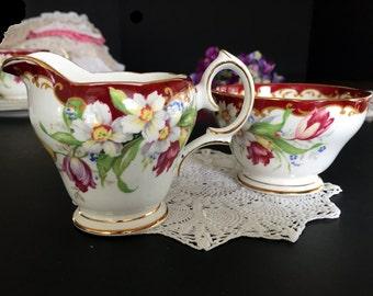 DAMAGED Cream Sugar Set, Bell Narcissus Creamer and Sugar, English Bone China, 13775