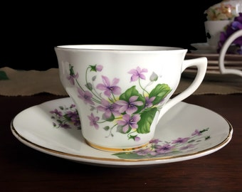 Rosina Teacup Cup and Saucer - Violets - Purple Flower Bone China Tea Cup 13814