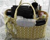Purse Insert, Bag Organizer Insert, Bucket Style, 15 Pockets, Handles, Swivel Key Clasp, Handbag, Tote, Diaper Bag,Travel Bag