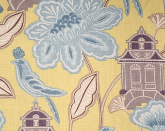 """Braemore - 2 Yards and 21"""" of Emperor's Garden Blossom Charteuese Fabric"""