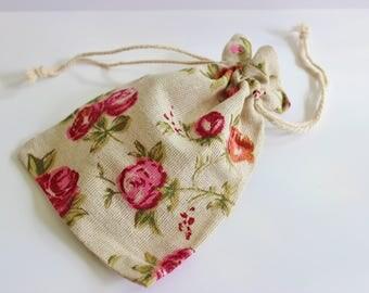 Rose Design Cotton 10+ Burlap Muslin Favor Bags Wedding Favor Bags  / Showers / Parties / Garden Parties