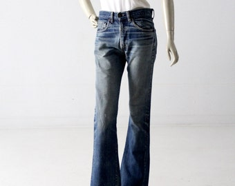vintage Levi's 517 denim jeans, 1970s boot cut fit 30 x 34