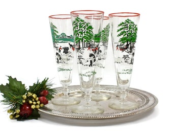 Vintage Pilsner Beer Glasses - SET of 4, Currier & Ives by Libbey Glass, Beer or Champagne, Christmas Glassware, c1948