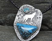Howling Wolf Necklace, Sterling Silver, American, Old Stock Turquoise, Two-sided, Wolf Medicine, Wolf Talisman, Totem, Braided Leather Cord