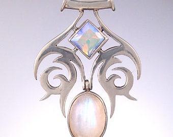 70% OFF CLEARANCE SALE!  Spyra Dua Tribal Celtic Pendant with Rainbow Moonstone