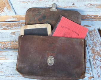Vintage Leather School Bag with School Slate and Old Notebook