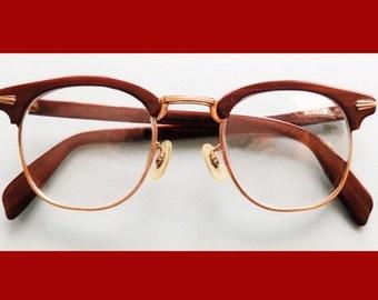 1950s Atomic Eyewear / Glasses / Frames / Dark Brown plastic and gold / C.O.C. 10k G.F. / 4 1/2 - 5 1/2
