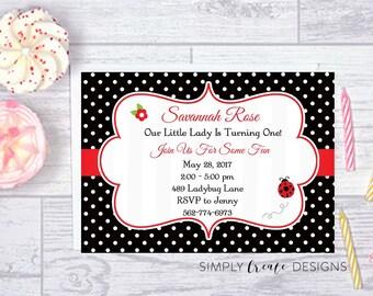 SALE Ladybug Invite Ladybug Invitation 5x7 Jpeg DIGITAL File