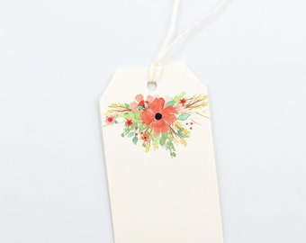 Floral Wedding Gift Tags, DIY Bridal Shower Gift Bag Tag, Garden Party -  Package of 12, Size 2 x 3.5 inches