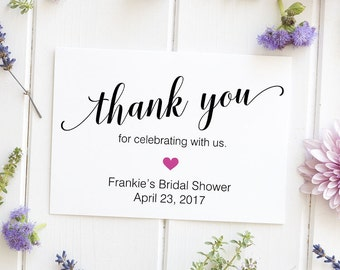 Thank You for Celebrating With Us Sign, Wedding Sign, Reception Decor, Bridal Shower - Personalized Printed Sign, Size 5 x 7 inches, BELA