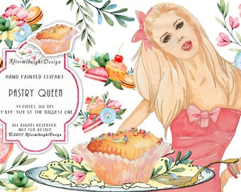 Pastry Queen Bakery Clipart Wedding Cakes Clipart Birthday Clip Art Watercolor Flower Bridal Shower Invitation Pink Planner Stickers