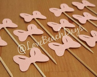 Minnie Mouse & Daisy Duck Bow Cupcake Toppers: Birthday Cupcake Toppers, First Birthday, Food Decorations